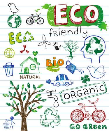 エコ フレンドリーなベクトルを設定  イラスト・ベクター素材