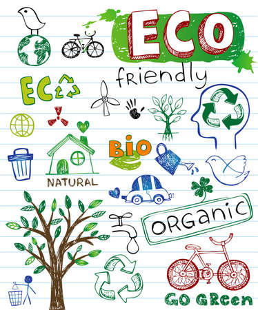 go green icons: Eco friendly vector set