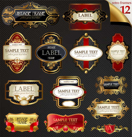 gold swirls: Vintage labels set Illustration