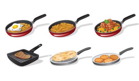 fried potatoes: Cooking icons Illustration