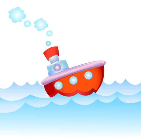 steamship: Cartoon steamship Illustration
