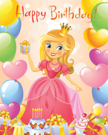 cartoon party: Happy Birthday, Princess, greeting card. Illustration