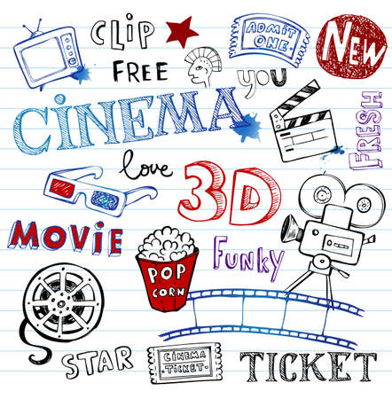 movie and popcorn: Vector hand-drawn icons