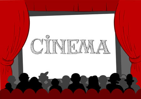 theater audience: People watching cinema in cinema hall Illustration
