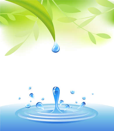water flowing: Crystal-clear drop of water, flowing down a green leaf Illustration