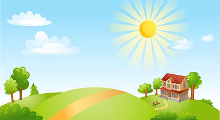 summer field: Vector illustration of beautiful landscape. Illustration