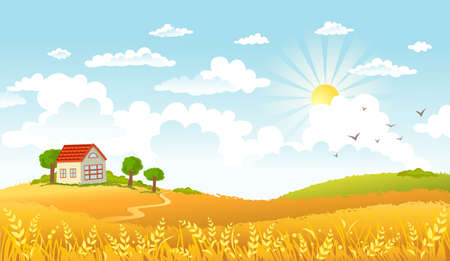 tranquil scene on urban scene: Vector illustration of beautiful landscape. Illustration