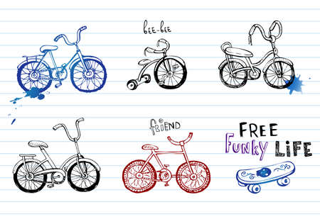 bicycle icon: Hand drawn bicycles. Illustration