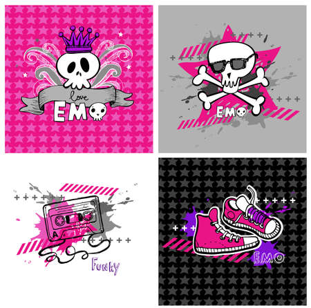 emo: Emo vector banners, suitable for t-shirt print
