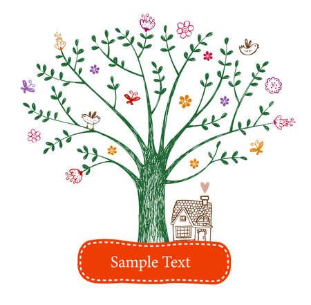 arbol de pascua: Tarjeta de felicitación de Pascua con el árbol