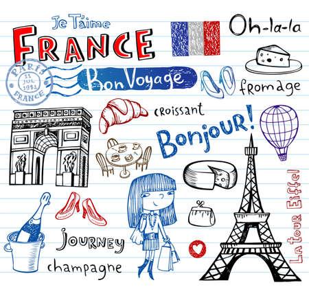 France symbols as funky doodles Stock Illustratie