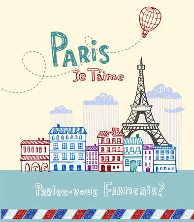 Postal de París Vectores