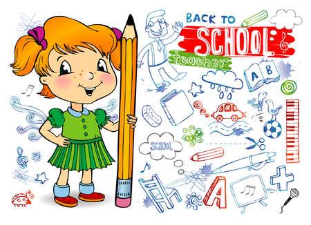 Funny doodles - Back to school. Vector