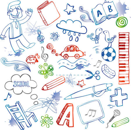 kids drawing: School doodles, vector set Illustration