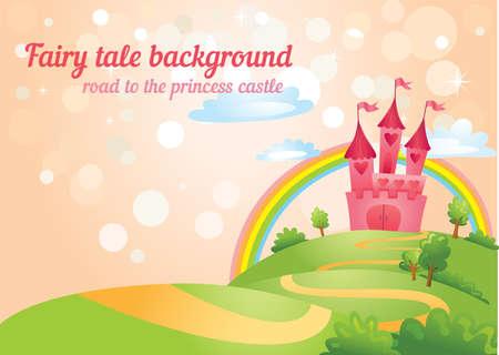 cartoon princess: Fairy Tale castle.
