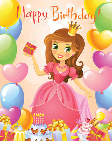 little girl cartoon: Happy Birthday, Princess, greeting card. Illustration