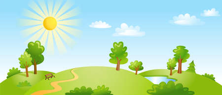 Vector illustration of beautiful landscape. Vettoriali
