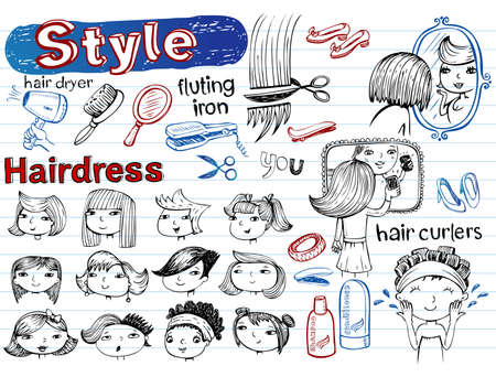 Beauty salon, Doodle set. Modern funky illustrations Vector