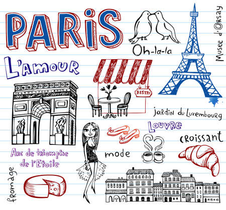 simple girl: France symbols as funky doodles Illustration