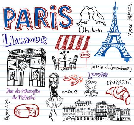 France symbols as funky doodles Illustration