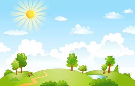 cultivated land: Vector illustration of beautiful landscape. Illustration