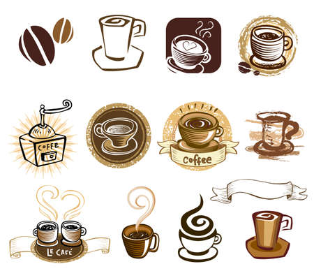 coffee beans: Coffee icon set.
