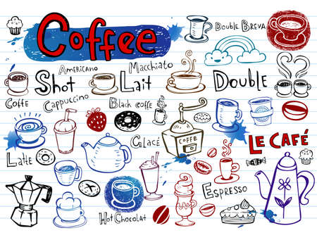 Coffee doodles Vector