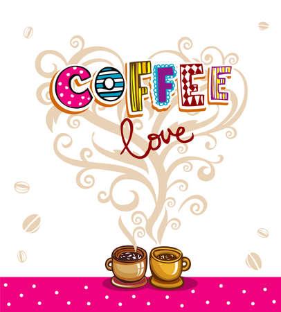 コーヒーのテーマの背景。  イラスト・ベクター素材