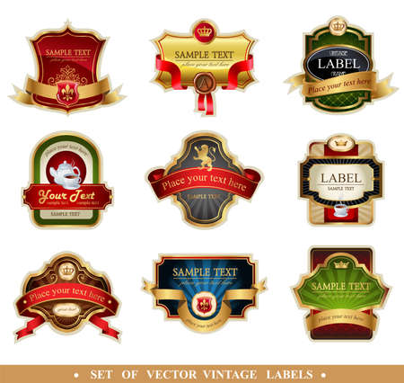 gold banner: Vector frames and ornamental labels