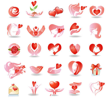 valentine passion: Emblems on love Illustration