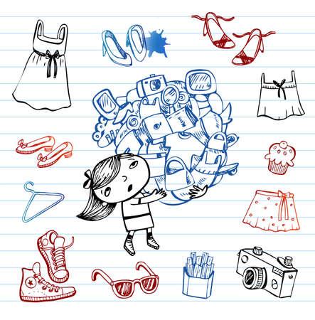 barefoot teens: Shopping, Hipsters doodle set Illustration