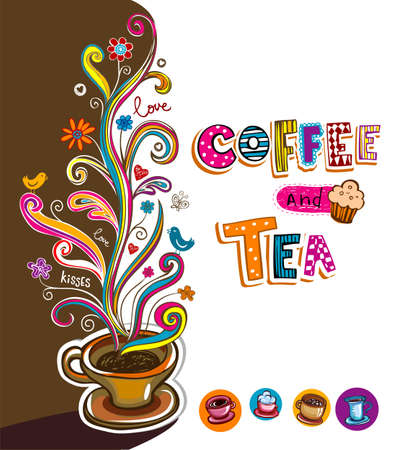 drinking coffee: Illustration which may be used as Cafe menu cover or card.