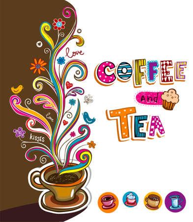 planta de cafe: Ilustración que puede ser utilizado como cubierta del menú Cafe o la tarjeta.