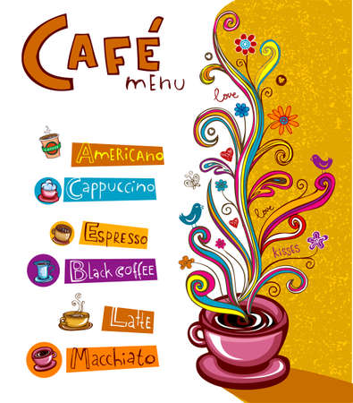 latte: Illustration which may be used as Cafe menu cover or card.