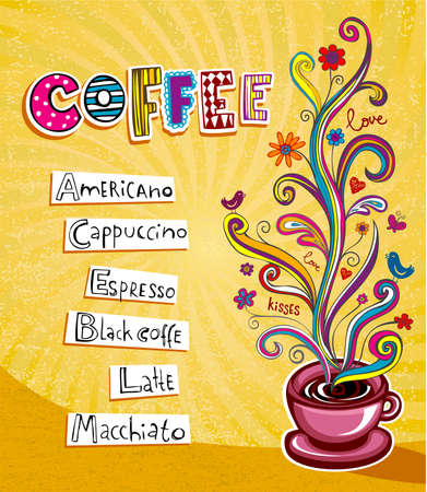 coffee plant: Illustration which may be used as Cafe menu cover or card.