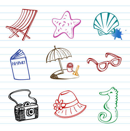 Summer holiday vector doodle collection Vector