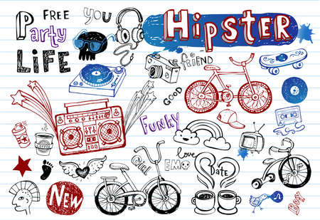 cute illustration: Hipsters doodle set