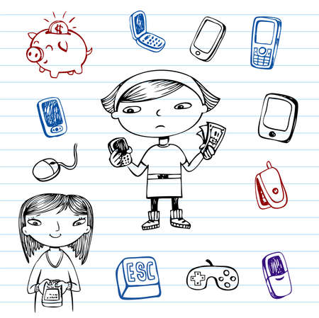 model: Mobile communication, hipsters doodle set