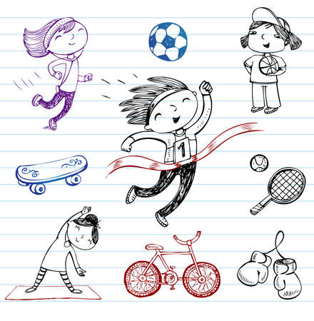 adiposity: Sport and Healthy lifestyle, doodle set Illustration