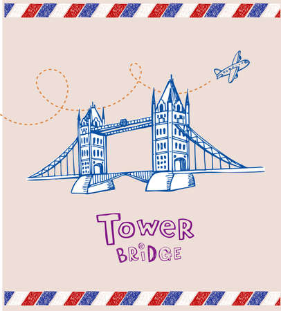 london tower bridge: Tower bridge- symbol of London Illustration