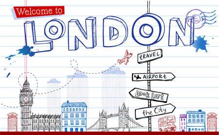 bus anglais: Carte de voeux de Londres en griffonnages de style