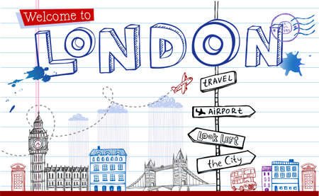 post cards: Greeting card from London in style doodles Illustration