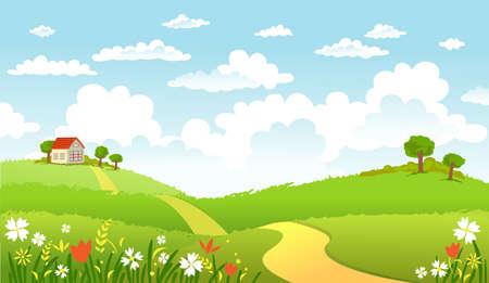 녹색 풍경과 길.