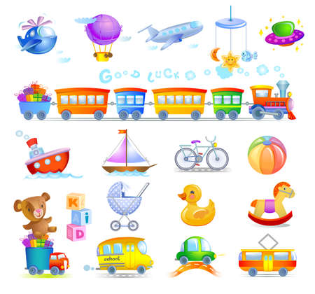 school baby: Variety of childrens toys Illustration