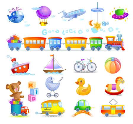 Variety of childrens toys Illustration