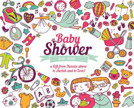 rattles: Baby shower Illustration