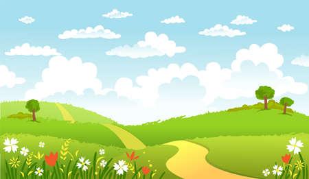 Groen Landschap en de weg. Stock Illustratie