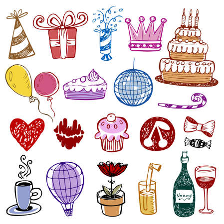 birthday hat: Set of Birthday doodles. Vector illustration.