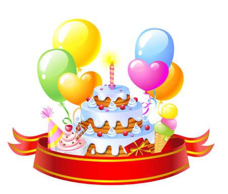 cartoon cake: Birthday Cake Illustration