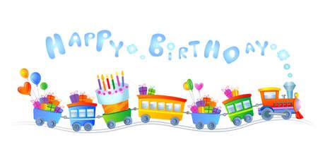 Happy birthday train  イラスト・ベクター素材